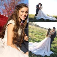 Plus size Elegant Vintage Short sleeves bride Crystal bridal A line long train wedding dresses custom Made CYW-0010