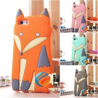2015 Lovely 3D Cute Silicone Cartoon animal Fox soft cover Case for iPhone 4 4S iphone4,500pcs/lot