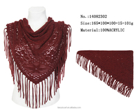 wine red hollow design tassels triangle scarf 100% acrylic triangular scarfs