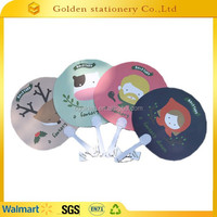 2015 Custom printed hand fan, advertising fan, plastic fan handle