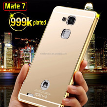 Luxury Mirror arcylic back aluminum metal frame phone case for huawei mate 7 ultra thin case for huawei mate 7