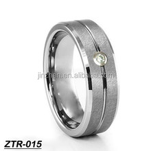 high quality finger ring tungsten ring with zircon stone male matte finish ring
