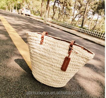 new 2015 corn husk straw bag women fashion natural color tote bag