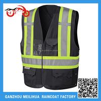 Black Hi Vis Vest Waterproof 3M Reflective Black Motorcycle safety Vests