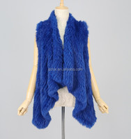 QC2025-2 natural real blue rabbit fur knitted waterfall cardigan vest/gilet