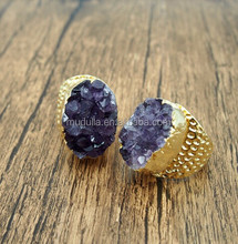 C150505067-1 Amethyst Ring Gold Electroplated Adjustable Cigar Amethyst Band Ring -- Amethyst Statement Ring