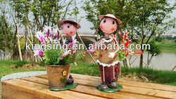 Outdoor Decoration Mini Metal Doll Flower Pots