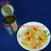 425ml Canned mix fruits:peach, grape, pineapple, pear, cherry, canned fruit cocktial in syrup