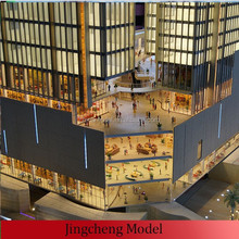 miniature architectural models of financial center with lighting system