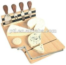 Hot selling rubber wood cheese board with cheese knives and cutter PW0363