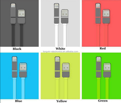 2 In 1 Phone Sync Data Charging USB flat noodle Cable for iPhone and Android phone