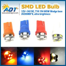 Wedge Base 8 SMD T10 LED Bulb Parking License Plate Light Replacement 168 194 3528