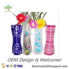 Custom Logo Printing Office decoration foldable plastic vase