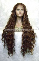 Extra long synthetic lace front wig hair ringlet wavy brown