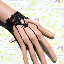 European Style Retro Black Female Lace With Ring Chain Palm Bracelet Cuffs