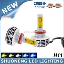 Long Lifespan 3000lm Five Colors Fanless High Power Car H11 Head Light LED