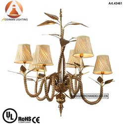 Luxury Antique Copper Lamp with White Fabric Shade
