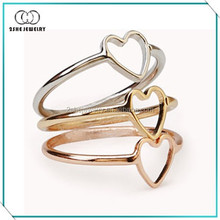 Three colors simple heart thin ring