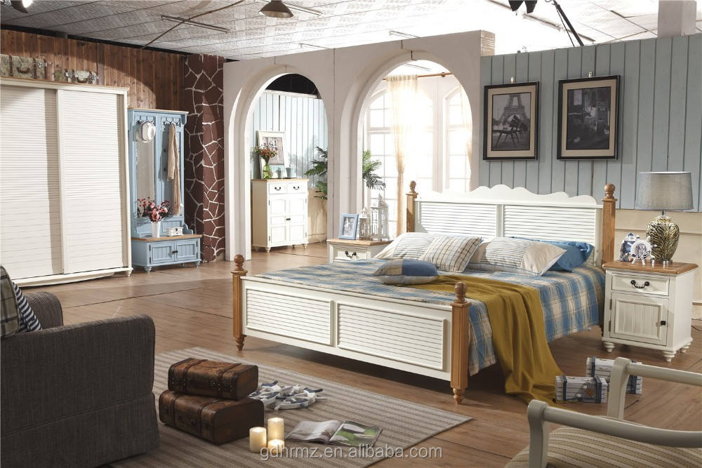 solid wood with panel bedroom furniture set in painting 2015 style
