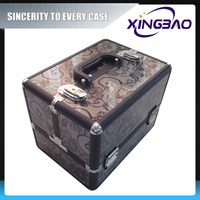 ODM open cosmetic case,foam color cosmetic case,PVC panel aluminum cosmetic case