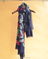 women fashion coloful printed floral polyester scarf