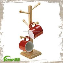 Popular Wood Mug Display Rack, Tea Display Rack, Coffee Mug Holder