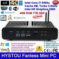 New Products Gen 5 i7-5500u Intel i7 Processor Mini PC Fanless Box Windows 8 Server 4G RAM 1TB HDD HTPC HD 4k TV HDMI 2 Lan Port