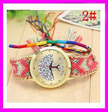 Crazy hotselling quartz wrist women watches brand woven bracelet watch for lady