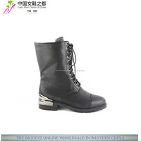 XG295 flat sole military lace up half boots