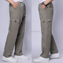 Casual trousers, men's khaki cargo trousers, cotton chino trousers