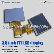 Factory wholesale 3.5 tft lcd 320x240 with 6:00Viewing Angle for electronic Products TF35014A