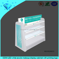 ODM LED white acrylic makeup display cabinet with printing logo
