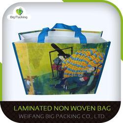 Laminated handle non woven foldable shopping bag