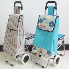 Promotional folding Shopping Trolley Bag With Stool,Shopping Transfer Cart With Chair