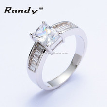 Fashion Jewelry AAA Zircon Diamond Princess Cut Wedding Ring Men&Women Engagement Ring