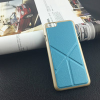 novelty mobile phone cover for iPhone 6 Premium gold back cover Case with hidden stand wing and leather veneer for iPhone 6