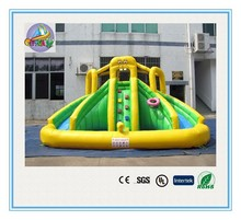 yellow Spongebob inflatable water slide with pool