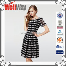 European and American high-end large size women short-sleeved striped dress african dresses for women