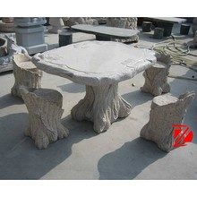 carved outdoor garden stone tree shape table with seat