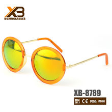 Cute mirror orange round sunglasses