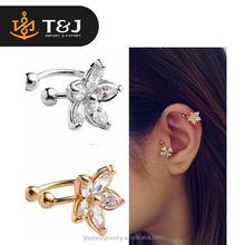 <<High Quality Shiny Nice Flower U Shape Gold&Silver Elegant Alloy Clip-on Earrings/