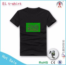 O and V neck!sound activated blank el flashing t shirt for dancing