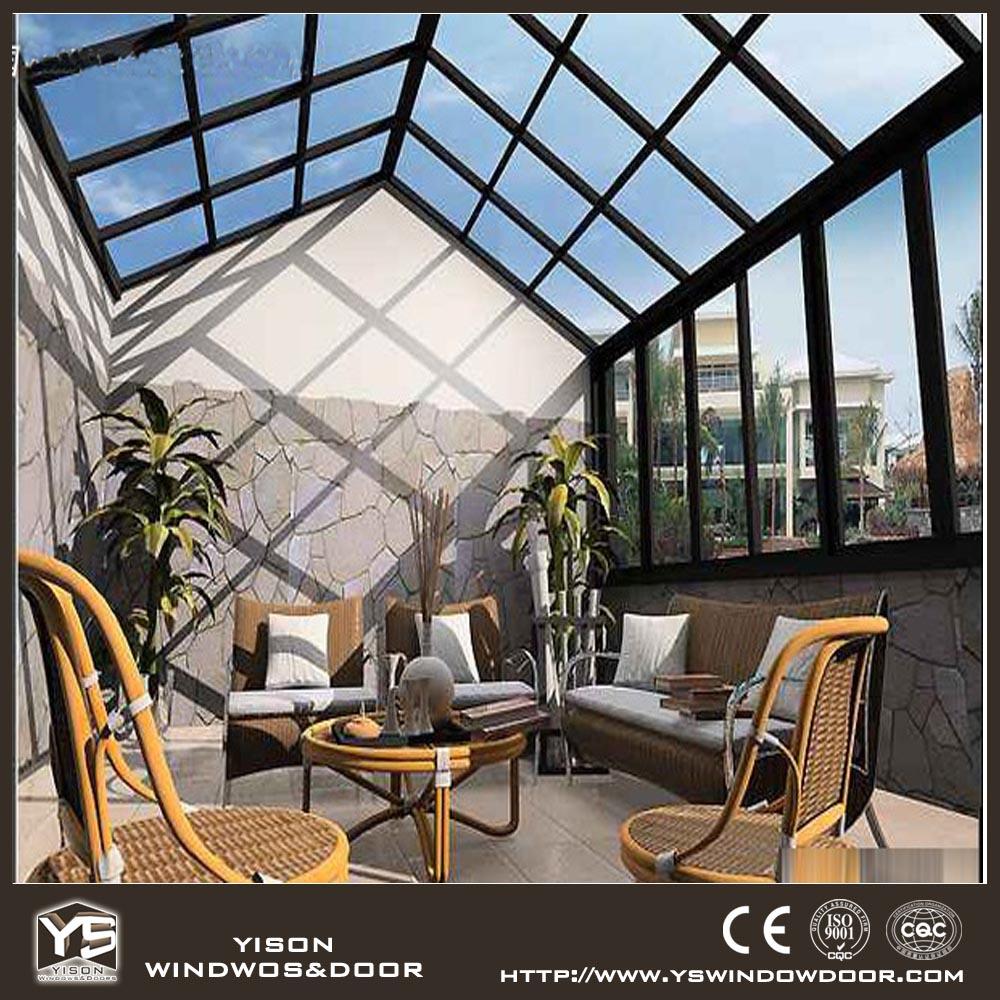 Top prefabricated aluminum glass house veranda sunroom for Prefab glass house prices