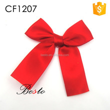 Handmade simple cheap red satin bow for gift packing box