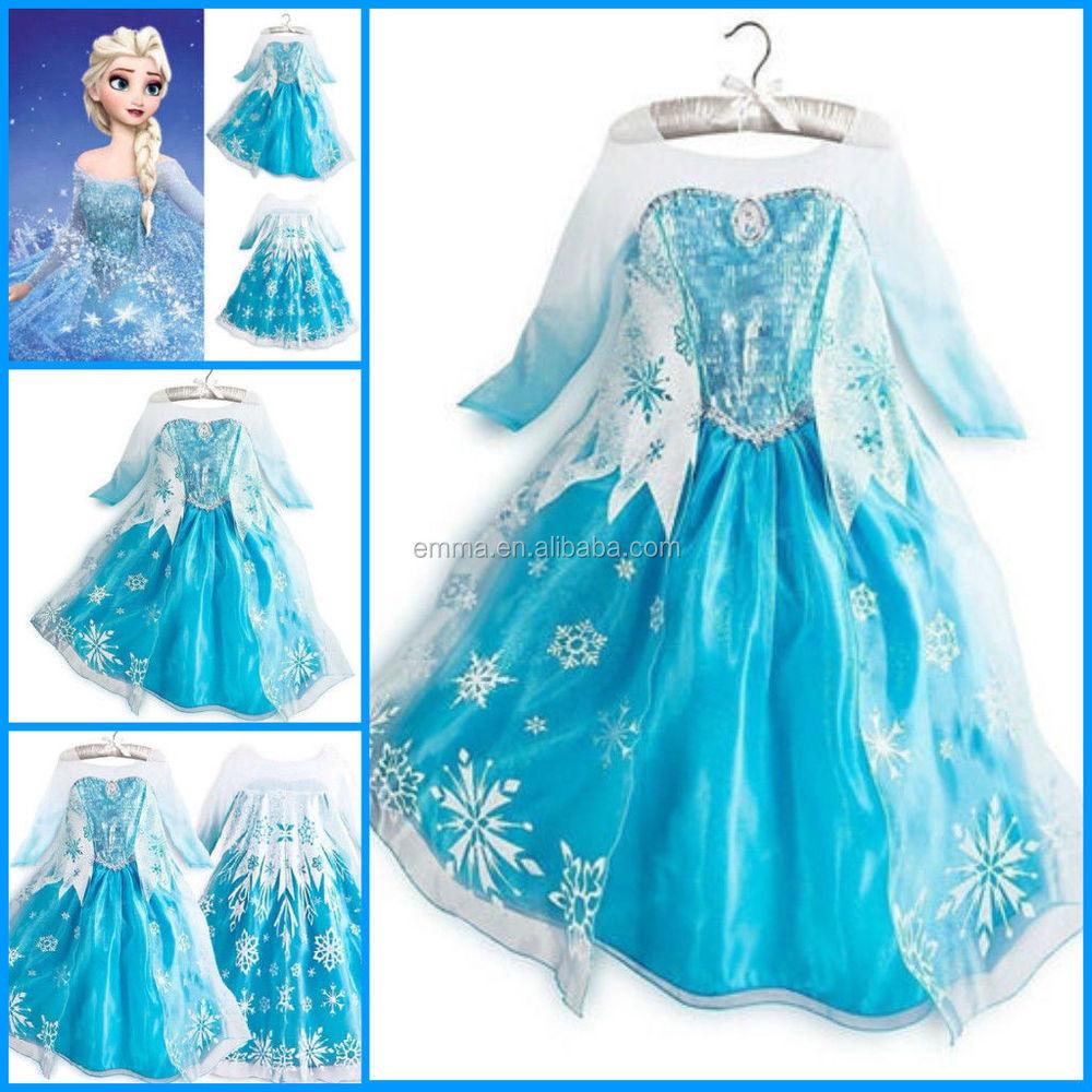 Frozen Elsa Dress Up Gown Costume Ice Princess Queen Dress Bc263 ...