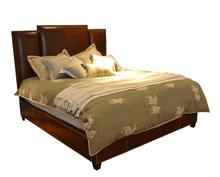 Simple elegant design solid wood bed room furniture genuine leather bed