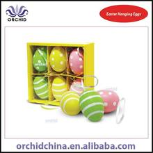 6pcs 6cm Stripped and Polka Dot Easter Hanging Plastic Eggs