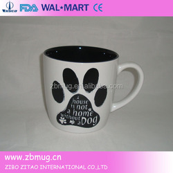 creative shape coffee mug, stoneware with dog decal