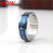 Venta al por mayor nuevo producto azul anillos con cruz y la biblia