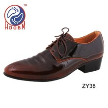 Fashion dark yellow lace-up men dress shoes
